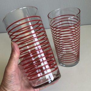 Libbey Vintage Red Stripe Beverage Glasses